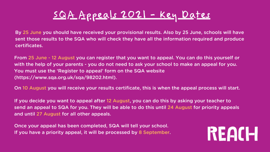 SQA Appeals 2021 - Key Dates. By 25 June you should have received your provisional results. Also by 25 June, schools will have sent those results to the SQA who will check they have all the information required and produce certificates. From 25 June - 12 August you can register that you want to appeal. You can do this yourself or with the help of your parents - you do not need to ask your school to make an appeal for you. You must use the 'Register to appeal' form on the SQA website (https://www.sqa.org.uk/sqa/98202.html). On 10 August you will receive your results certificate, this is when the appeal process will start. If you decide you want to appeal after 12 August, you can do this by asking your teacher to send an appeal to SQA for you. They will be able to do this until 24 August for priority appeals and until 27 August for all other appeals. Once your appeal has been completed, SQA will tell your school. If you have a priority appeal, it will be processed by 8 September.