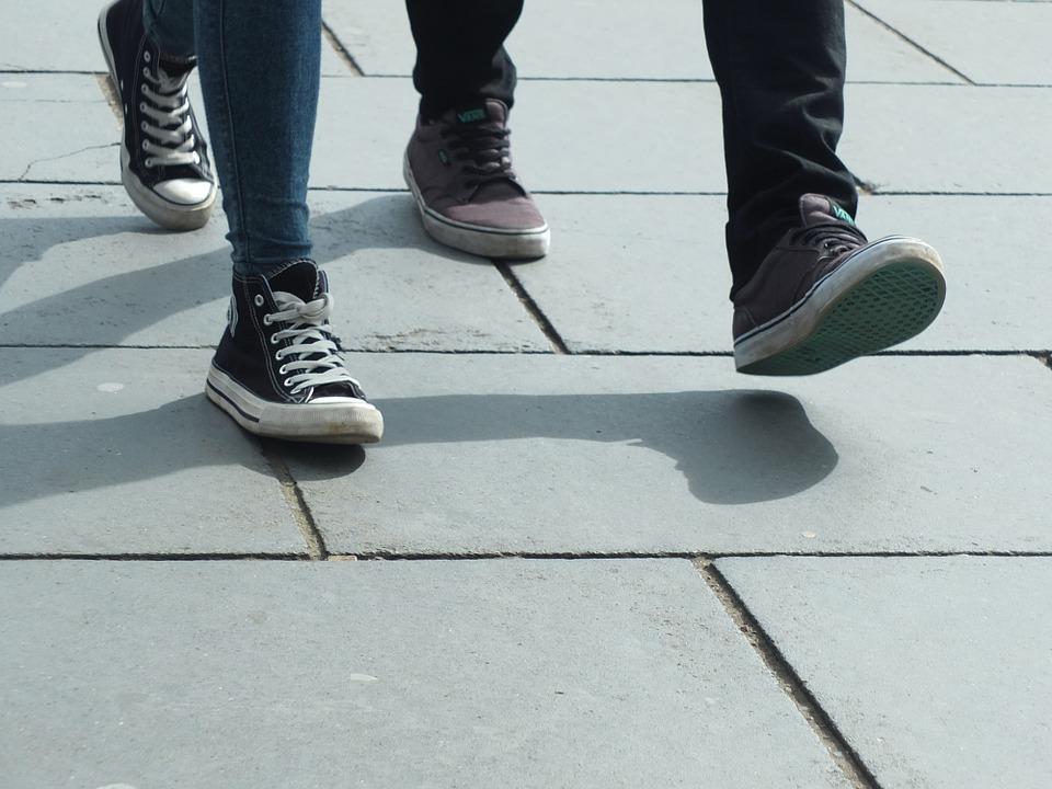 feet walking away from school