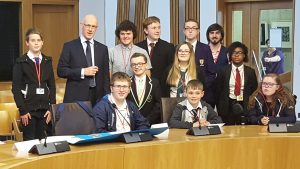 Minister John Swinney with Inclusion Ambassadors