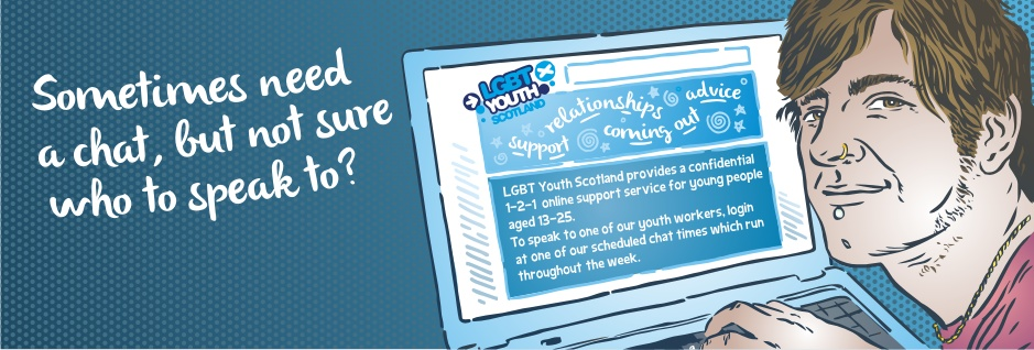 LGBT Youth banner 'Sometimes need a chat?'