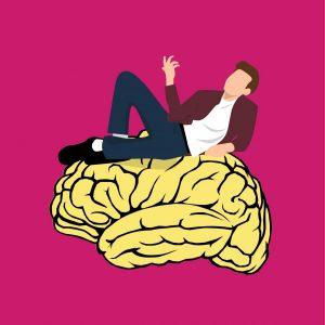 Cartoon of man sitting on a brain.